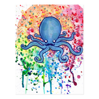 Watercolor Spatter Mustache Octopus Post Cards