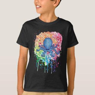 Watercolor Spatter Mustache Octopus T-Shirt