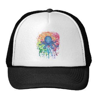 Watercolor Spatter Mustache Octopus Trucker Hat