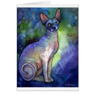 Watercolor Sphynx Sphinx Cat # 2 painting Card