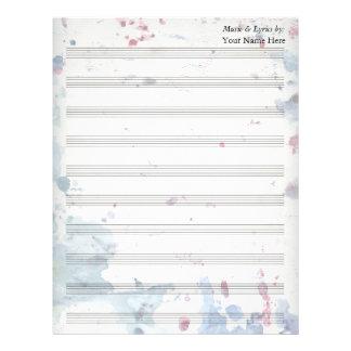 Watercolor Splash  Blank Sheet Music 10 Stave