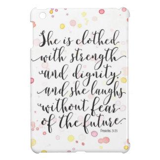 Watercolor Splash Proverbs 31:25 iPad Mini Cover
