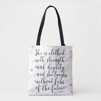 Watercolor Splash Proverbs 31:25 Tote Bag