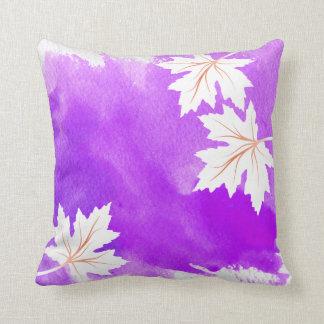 Watercolor splash purple maple leaves modern throw pillow