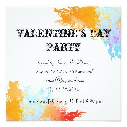 Watercolor Splash Valentine's Invite