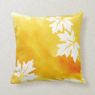 Watercolor splash yellow maple leaves modern throw pillow