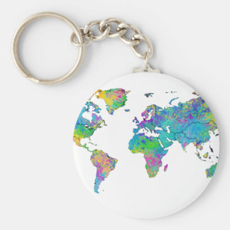 Watercolor Splashes World Map Keychain
