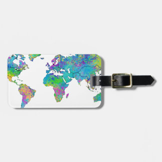 Watercolor Splashes World Map Tag For Luggage