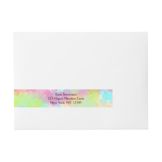 Watercolor Splatter Colorful Abstract Design Wrap Around Address Label