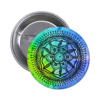 Watercolor Splatter Mandala Design Button/ Pin. Pinback Button