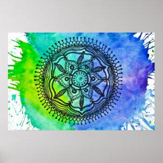 Watercolor Splatter Mandala Poster.