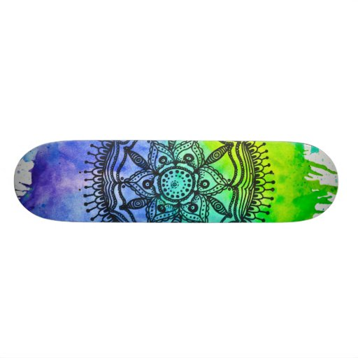 Watercolor Splatter Mandala Skateboard   Megaflora