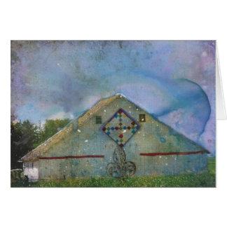Watercolor Splattered Barn Card