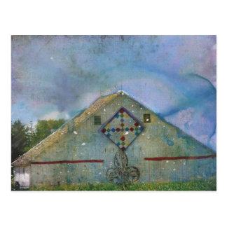 Watercolor Splattered Barn Postcard