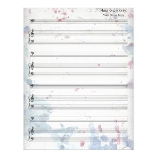 Watercolor Splatters Blank Sheet Music Bass Clef Letterhead