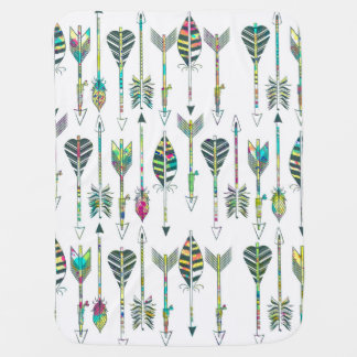 watercolor splatters grey tribal arrows pattern swaddle blanket