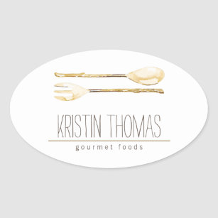 Watercolor Spoon and Fork Catering Oval Sticker