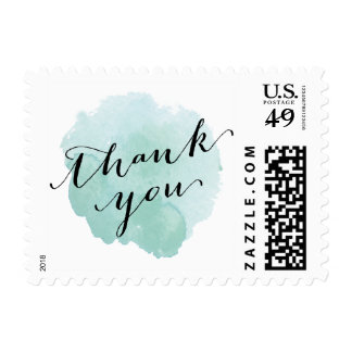 Watercolor Spotlight | Thank you postage stamp