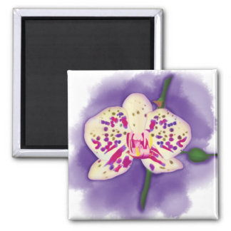 Watercolor Spotted Purple and Cream Orchid Magnet