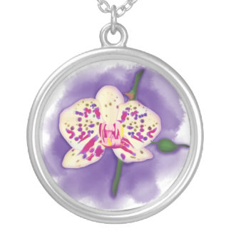 Watercolor Spotted Purple and Cream Orchid Round Pendant Necklace