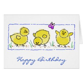 Watercolor Spring Chicks Birthday Card