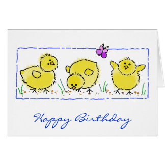 Watercolor Spring Chicks Birthday Greeting Card