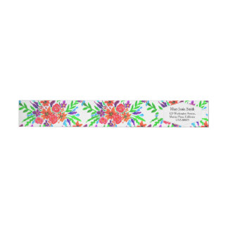 Watercolor Spring Floral Blooms Wrap Around Label
