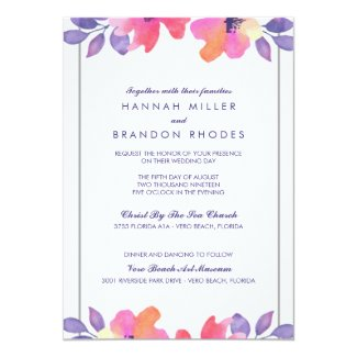 Watercolor Spring Floral Wedding Invitation