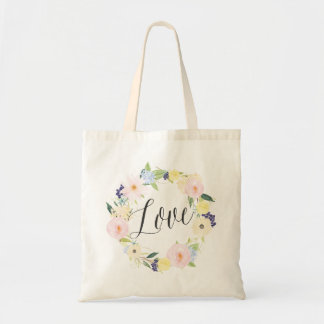 Watercolor Spring Floral Wreath | Love Tote Bag