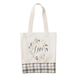 Watercolor Spring Floral Wreath | Love Zazzle HEART Tote Bag