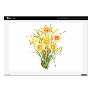 "Watercolor Spring flower daffodils 17"" Laptop Skins"