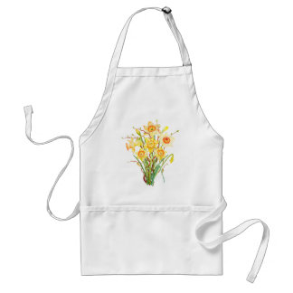 Watercolor Spring flower daffodils Adult Apron