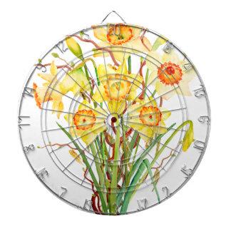 Watercolor Spring flower daffodils Dartboard