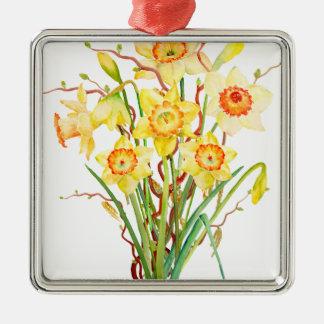 Watercolor Spring flower daffodils Metal Ornament