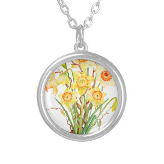 Watercolor Spring flower daffodils Silver Plated Necklace