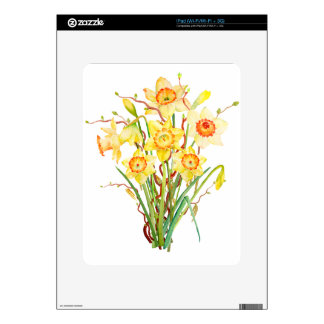Watercolor Spring flower daffodils Skin For The iPad
