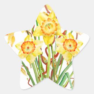 Watercolor Spring flower daffodils Star Sticker