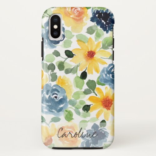 Watercolor Spring Flowers. Add Name. Phone Case
