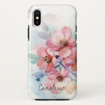 Watercolor Spring Flowers. Add Name. iPhone X Case