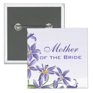 Watercolor Spring Flowers Mother of the Bride 2 Inch Square Button