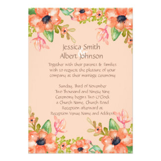 Watercolor Spring Flowers Wedding Invite