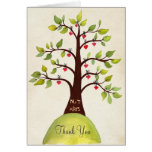 Watercolor Spring Monogram Tree Thank You Card