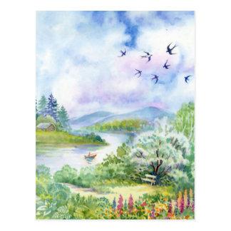 Watercolor Spring Scene Postcard