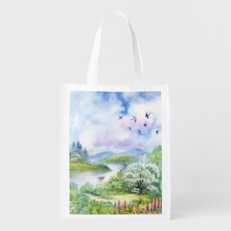 Watercolor Spring Scene Reusable Grocery Bag