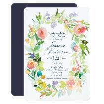 Watercolor Spring Wreath Bridal Shower Invitation