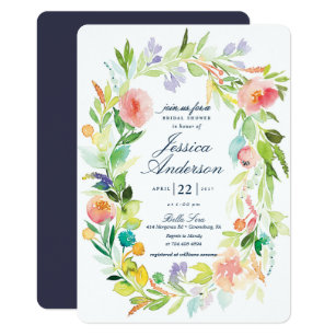 Spring bridal shower invitations announcements zazzle watercolor spring wreath bridal shower invitation filmwisefo