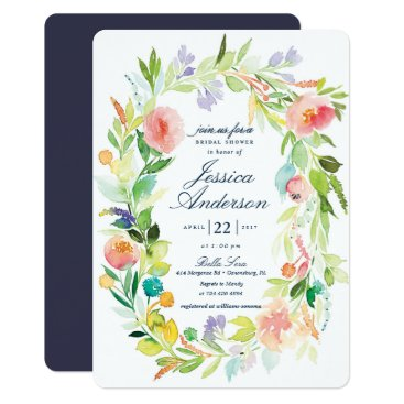 blush_printables Watercolor Spring Wreath Bridal Shower Invitation