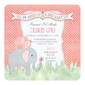 Watercolor Square Cute Girl Baby Shower Elephant Card