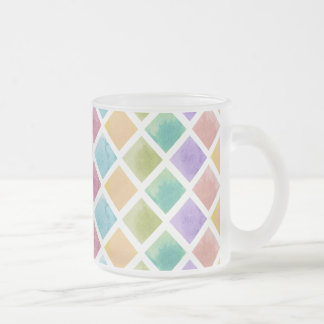 Watercolor squares pattern frosted glass coffee mug