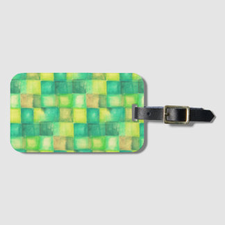 Watercolor Squares Pattern green + your ideas Bag Tag